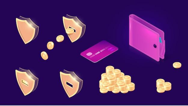 Icone di trasferimento di denaro isometriche Vettore gratuito