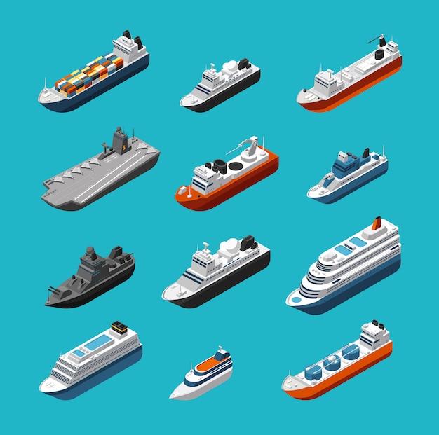 Icone di trasporto isometrico passeggeri e navi da carico, barche a vela, yacht e navi Vettore Premium