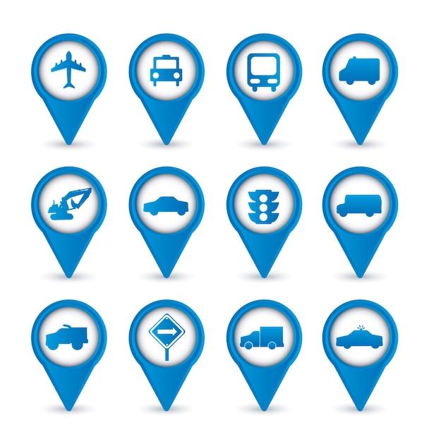 Icone di trasporto sopra illustrazione vettoriale sfondo bianco Vettore Premium