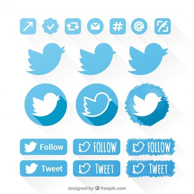Icone di twitter set Vettore gratuito
