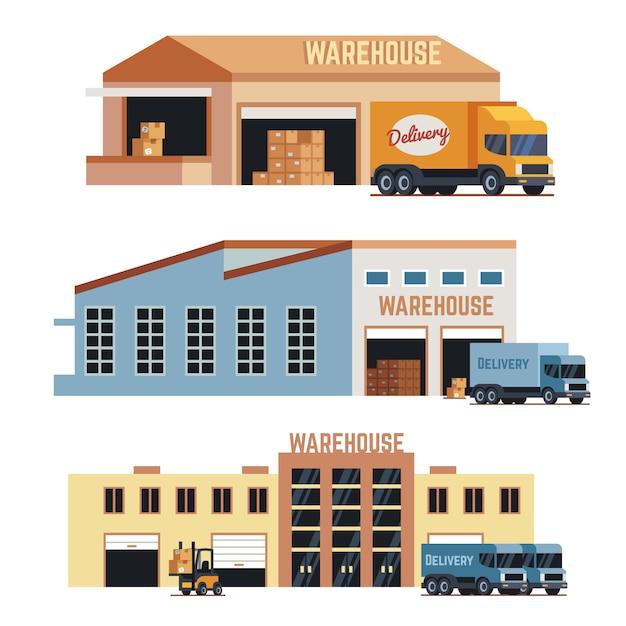 Icone di vettore del magazzino, della costruzione industriale e della memoria del magazzino. insieme dell'illustrazione del camion della costruzione e di consegna del magazzino Vettore Premium