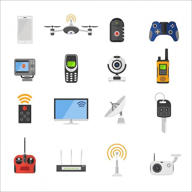 Icone di vettore di dispositivi elettronici di controllo remoto di casa intelligente Vettore Premium