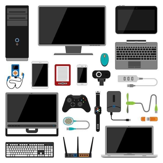 Icone di vettore di gadget elettronici Vettore Premium