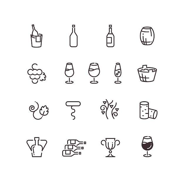 Icone di vettore di linea sottile cantina vino sommelier Vettore Premium