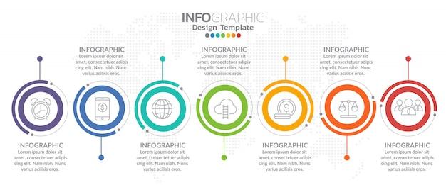 Icone di vettore e marketing di progettazione infografica timeline Vettore Premium