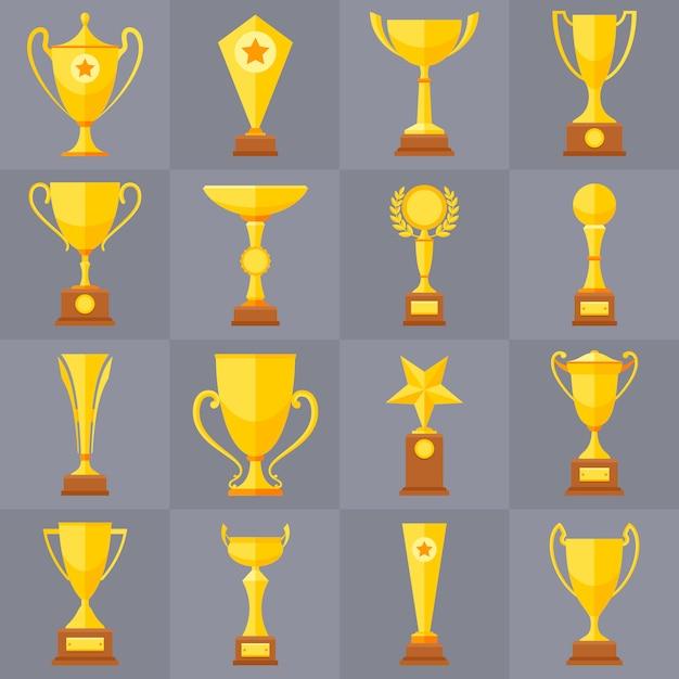 Icone di vettore piatto coppe d'oro trofeo vincitore per concetto di vittoria di sport. premio e premio di sport, illustrazione della tazza del trofeo Vettore Premium