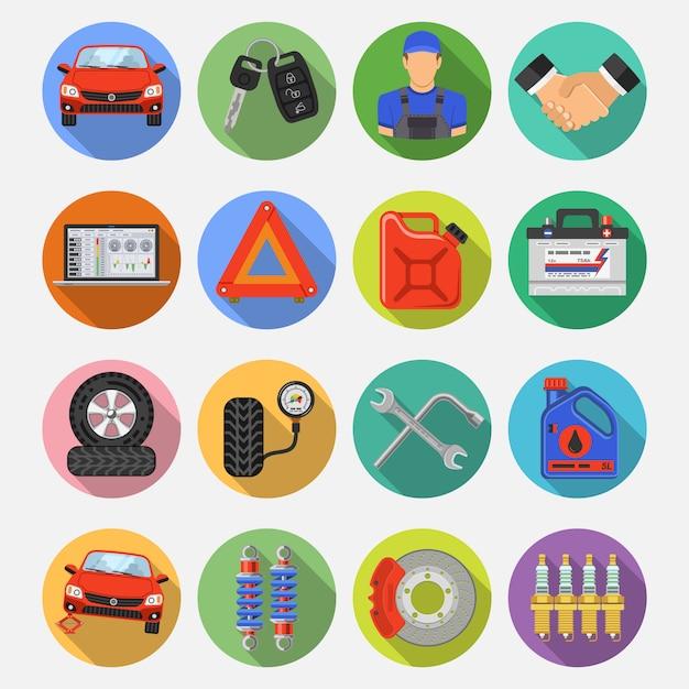 Icone di vettore stabilite di servizio dell'automobile Vettore Premium