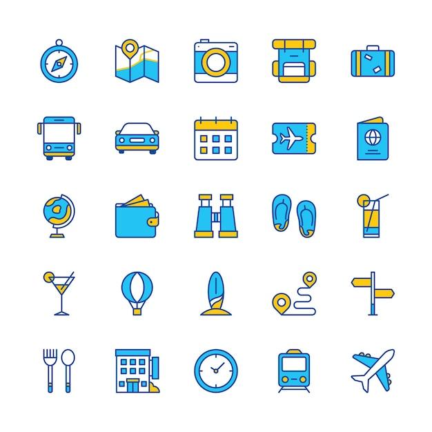 Icone di viaggio set blue orange web app trip compass ticket bus train hotel Vettore Premium