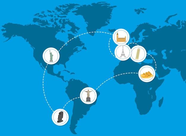 Icone di viaggio sul mondo Vettore Premium