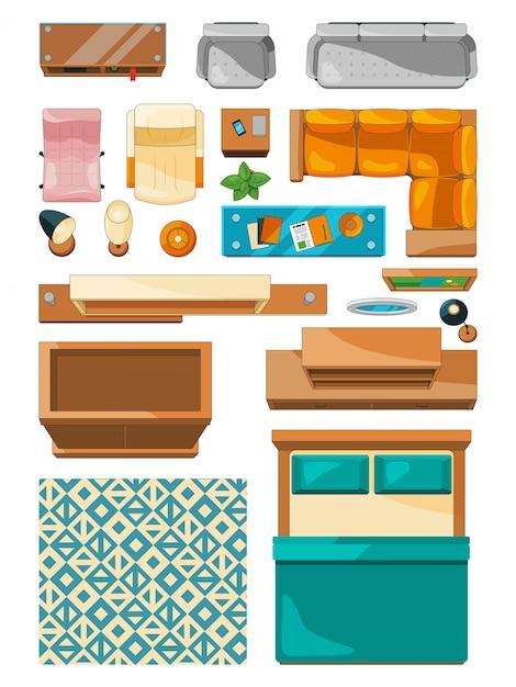Icone differenti della vista superiore della mobilia Vettore Premium