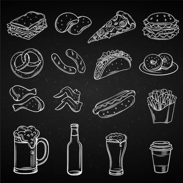 Icone disegnate a mano per street cafe Vettore Premium