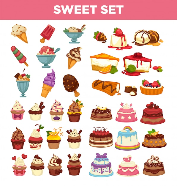 Icone dolci di vettore dei dessert della pasticceria dei dolci e dei bigné messe Vettore Premium