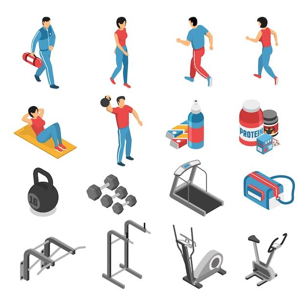 Icone e caratteri isometrici di forma fisica di salute messi Vettore gratuito