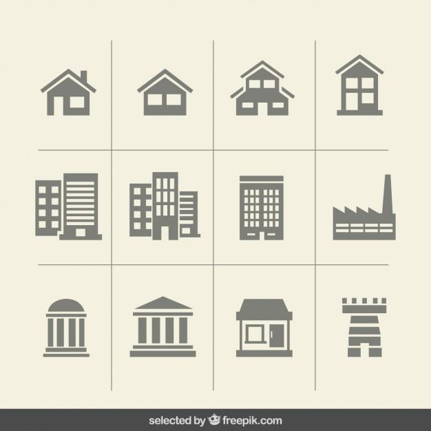 Icone edificio monocromatiche Vettore gratuito