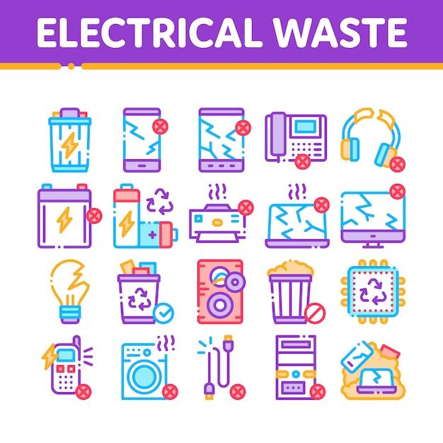 Icone elettriche della raccolta degli strumenti dei rifiuti messe Vettore Premium