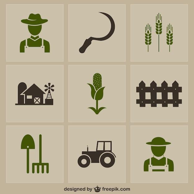 Icone farm pack Vettore gratuito