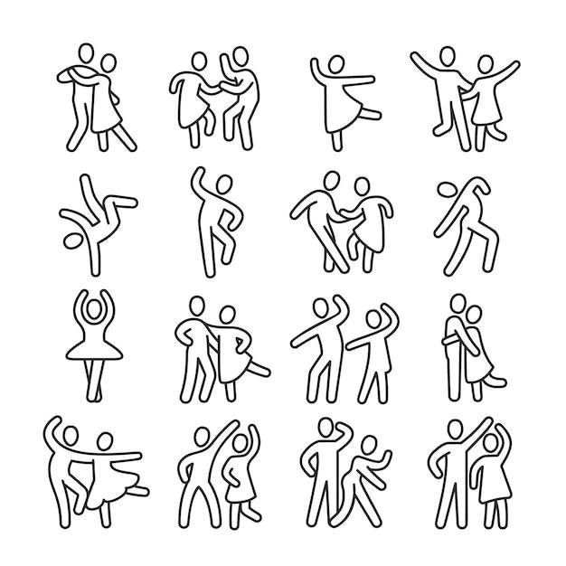Icone felici delle coppie della donna e dell'uomo di dancing. pittogrammi di vettore di stile di vita ballo discoteca. illustrazione di coppia danza, persona ballerina felice, balletto e salsa, latino e flamenco Vettore Premium