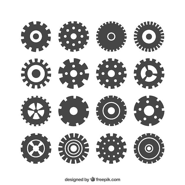 Icone gears Vettore gratuito