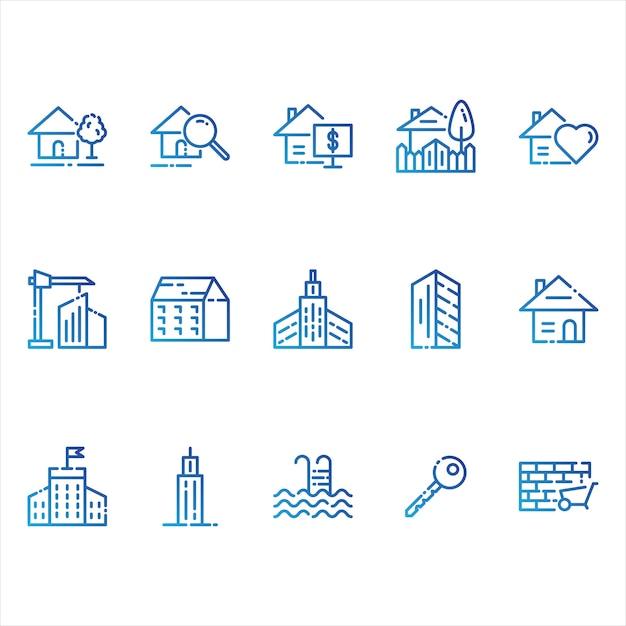 Icone immobiliari e edifici Vettore gratuito