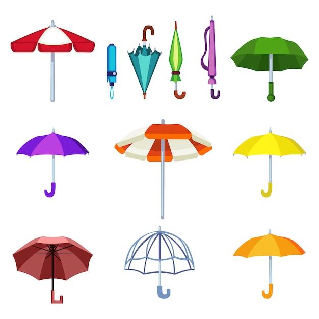 Icone isolate vettore dell'ombrello Vettore Premium