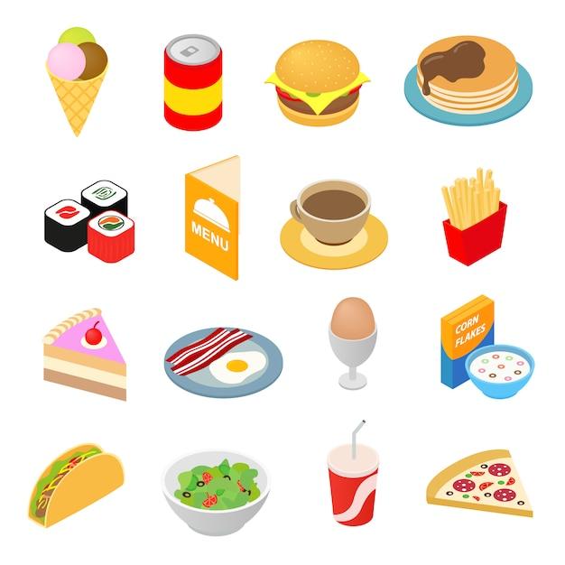 Icone isometriche 3d degli alimenti a rapida preparazione messe Vettore Premium