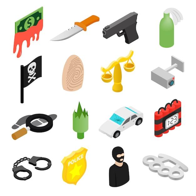 Icone isometriche 3d di crimine messe Vettore Premium