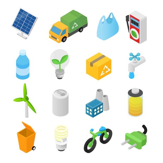 Icone isometriche 3d di ecologia messe Vettore Premium