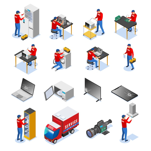 Icone isometriche del centro di servizio di riparazione di apparecchi domestici di elettronica e dei dispositivi dell'elettronica delle compresse del computer messe Vettore gratuito