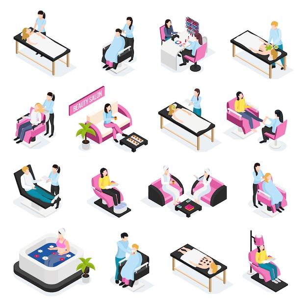 Icone isometriche del salone di bellezza Vettore gratuito
