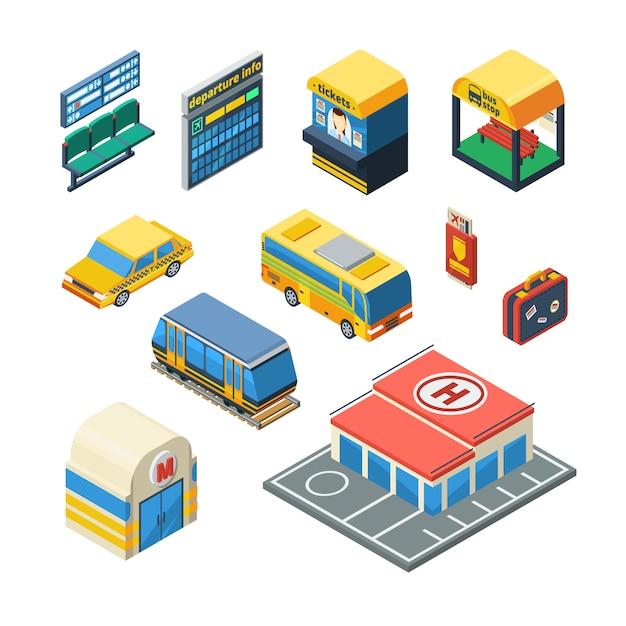 Icone isometriche del trasporto passeggeri Vettore gratuito