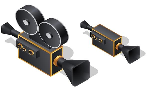 Icone isometriche della retro cinepresa, vettore del fumetto Vettore gratuito