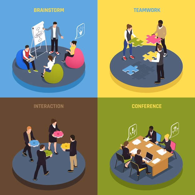 Icone isometriche di concetto 4 di collaborazione di lavoro di squadra con idee degli impiegati che condividono gli accordi di conferenza che impegnano l'interazione di brainstorming Vettore gratuito