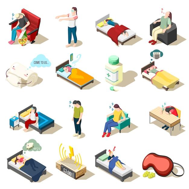 Icone isometriche di disturbo del sonno Vettore gratuito