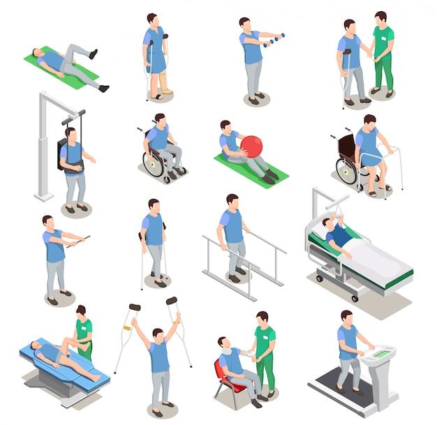 Icone isometriche di fisioterapia Vettore gratuito
