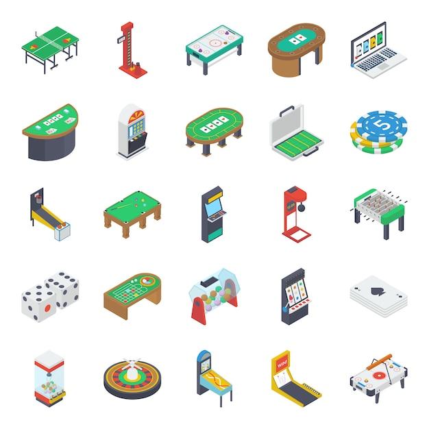 Icone isometriche di giochi da tavolo al coperto Vettore Premium