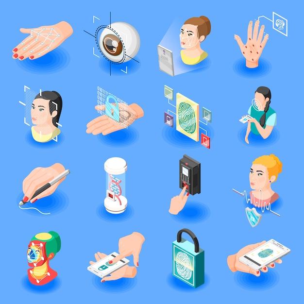 Icone isometriche di identificazione biometrica Vettore gratuito