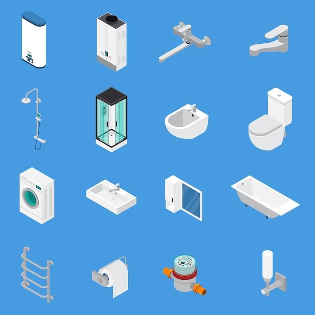 Icone isometriche di ingegneria sanitaria Vettore gratuito