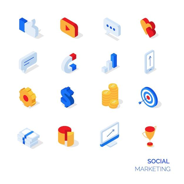 Icone isometriche di marketing sociale Vettore Premium