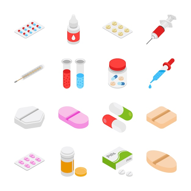 Icone isometriche di medicinali Vettore Premium