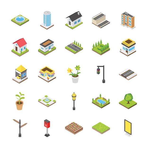 Icone isometriche di paesaggio urbano Vettore Premium