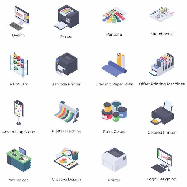 Icone isometriche di progettazione grafica e di stampa Vettore Premium