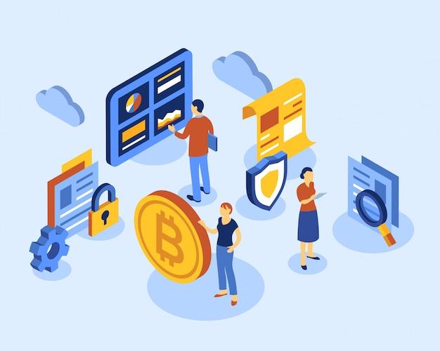 Icone isometriche di tecnologia bitcoin di criptovaluta Vettore Premium