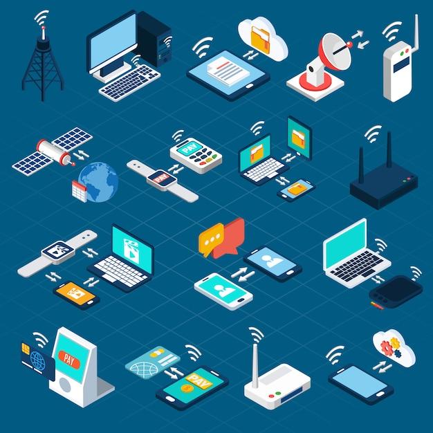 Icone isometriche di tecnologie wireless Vettore gratuito