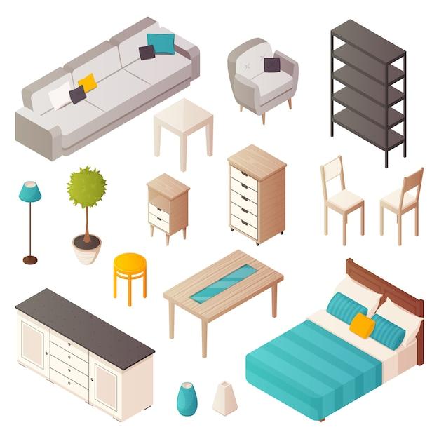 Icone isometriche isolate della mobilia domestica messe Vettore gratuito