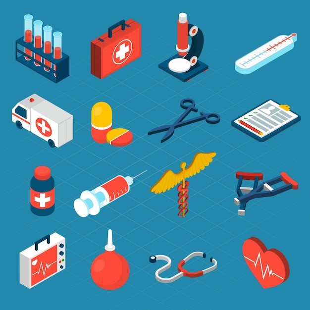 Icone isometriche mediche Vettore gratuito