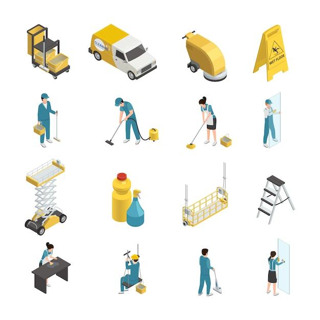 Icone isometriche professionali di pulizia con il personale in uniforme, detersivi e attrezzatura a macchina compreso trasporto Vettore gratuito