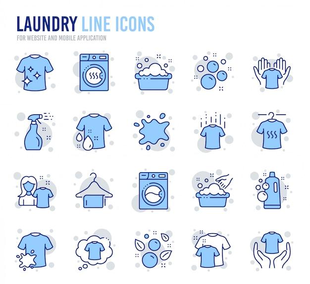 Icone linea lavanderia. asciugatrice, lavatrice e camicia antisporco. Vettore Premium