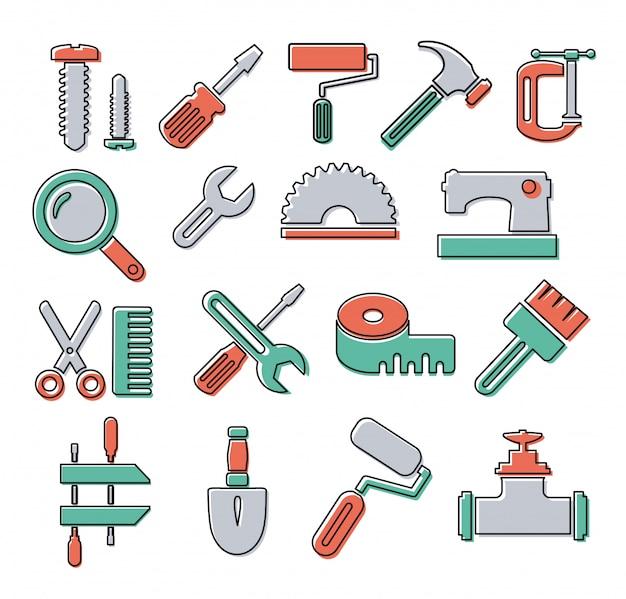 Icone lineari con strumenti di costruzione e riparazione di oggetti Vettore Premium