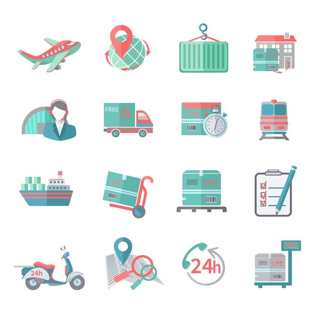 Icone logistiche impostate piatte Vettore gratuito