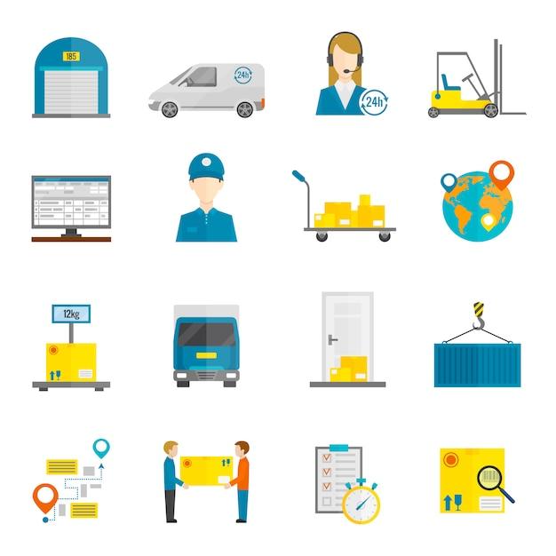 Icone logistiche piatte Vettore gratuito